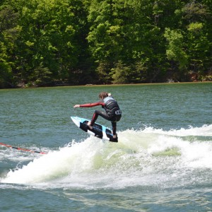 image of wake surfing grom